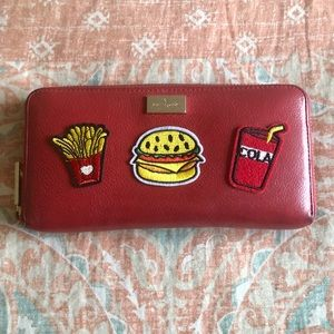 Kate Spade Red Leather Novelty Food Patch Wallet